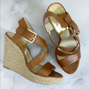 Michael Kors Brown Strappy Espadrille Wedges 9.5